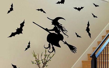Samolepka na zeď - čarodějnice s netopýry