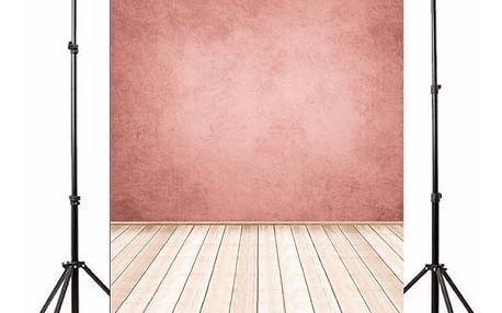 Ateliérové fotopozadí 3 x 5 m - Zeď v modré barvě a světlá dřevěná podlaha