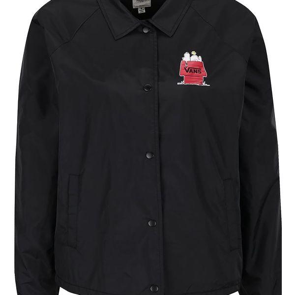 Černá dámská šusťáková bunda s potiskem Snoopyho VANS Skates