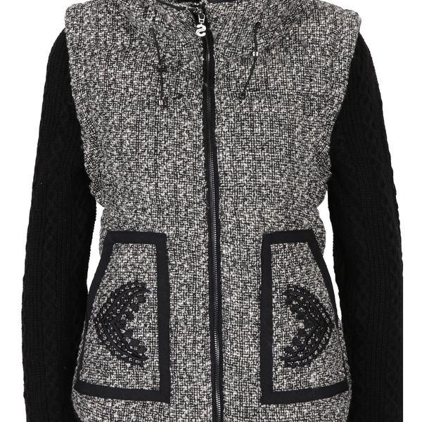 Černá bunda s odepínatelnými svetrovými rukávy a příměsí vlny Desigual Nigth