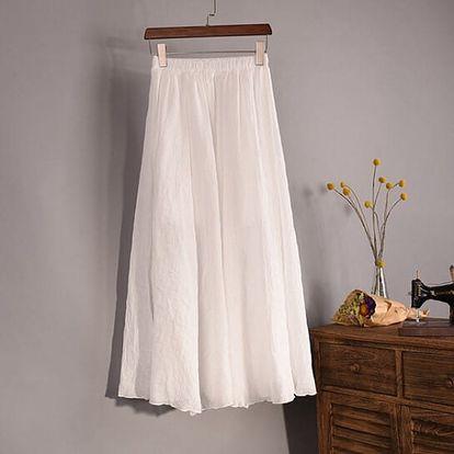 Vzdušná lněná sukně v bílé barvě