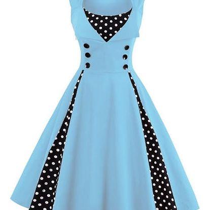 Retro šaty s puntíky - Světle modrá - velikost č. 5