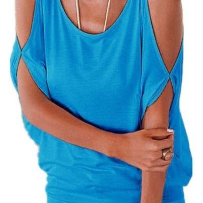 Dámské plus size tričko s otvory na ramenou - Světle modrá, velikost 3