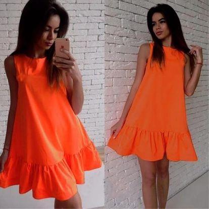 Jednobarevné šaty ve volném střihu - Oranžová - velikost č. 5