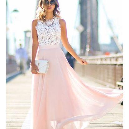 Dlouhé šaty s krajkovým vrškem a růžovou sukní - vel. 2
