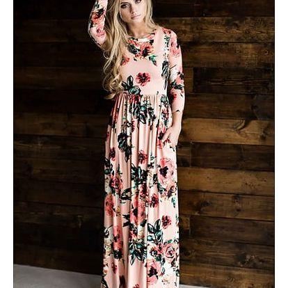 Květinové dlouhé šaty s 3/4 rukávem - 5 barev