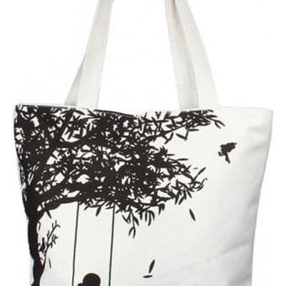Plátěná taška s houpající se dívkou - černá