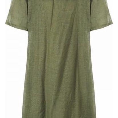 Dámské bavlněné maxi šaty v nadměrných velikostech - Zelená, velikost 5