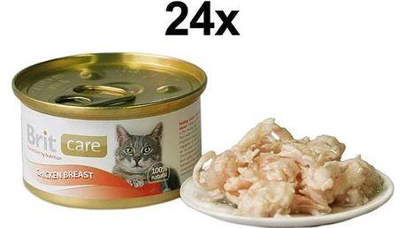 Konzerva Brit Care Cat kuřecí prsa 24 x 80g