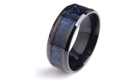 Černý unisex prsten s modrými detaily