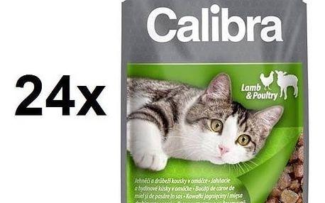 Kapsička Calibra Cat Adult jehněčí a drůbeží v omáčce 24 x 100 g