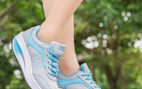Dámská sportovní obuv s vyšší podrážkou - modrá, vel. 39 - dodání do 2 dnů