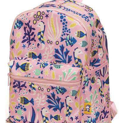 PETIT MONKEY Dětský batůžek Under the sea Pink, růžová barva, plast, textil
