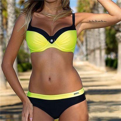 Dámské moderní bikini s push up efektem - žlutá, velikost 2
