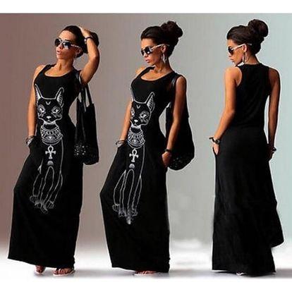 Plážové maxi šaty s motivem kočky - černé, vel. 3