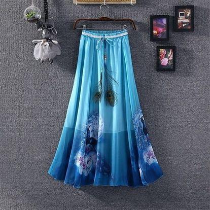 Lehká dlouhá letní sukně - varianta 8