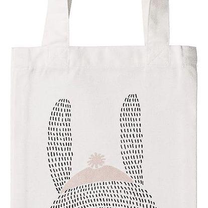 Bloomingville Dětská plátěná taška Rabbit, růžová barva, bílá barva, textil