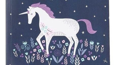 sass & belle Nelinkovaný sešit Starlight Unicorn A5, modrá barva, papír