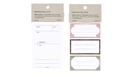 MONOGRAPH Nálepky na sešity - 12 kusů Bílé, bílá barva, papír
