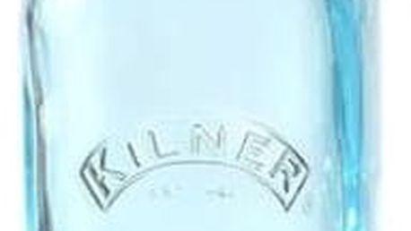 KILNER Skleněná lahvička s klipem Blue 250 ml, modrá barva, sklo