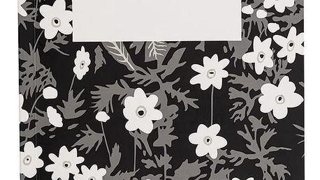 DESIGN LETTERS Poznámkový blok Windflower Large, černá barva, bílá barva, papír