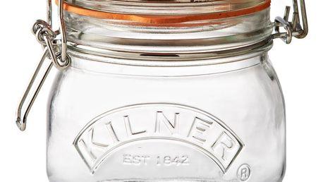 KILNER Kulatá zavařovací sklenice s klipem 500 ml, čirá barva, sklo