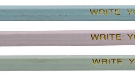 Bloomingville Tužka Colours - 9 ks, růžová barva, zelená barva, šedá barva, dřevo
