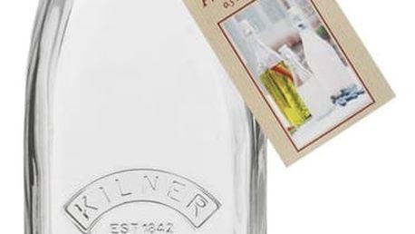 KILNER Hranatá lahev s klipem 550 ml, čirá barva, sklo