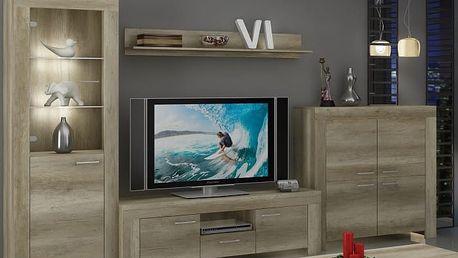 Sky - Obývací stěna, police, komoda, RTV stolek (country šedá)