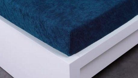 XPOSE ® Froté prostěradlo dvoulůžko - tmavě modrá 180x200 cm