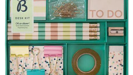 Busy B Sada kancelářských potřeb Fashion, zelená barva, kov, papír