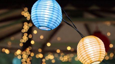 STAR TRADING Světelný lampionový řetěz na solární napájení Festival, multi barva, plast, papír