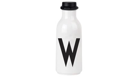 DESIGN LETTERS Lahev na vodu Letters O, černá barva, bílá barva, plast