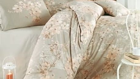 Homeville Povlečení 100% bavlna Elena béžová se dvěma povlaky na polštář