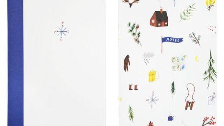 Ohh Deer Sešit Alpine A5 - set 2 ks, modrá barva, bílá barva, multi barva, papír