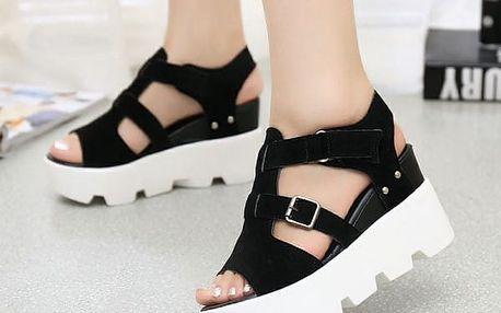 Pohodlné sandále na vysoké platformě - černé, vel. 38