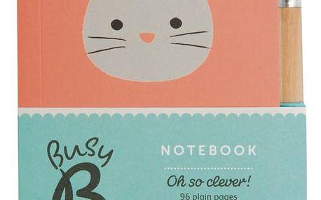 Busy B Poznámkový bloček s tužkou Bunny Cute, oranžová barva, papír