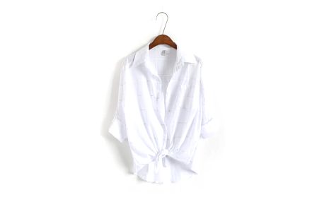 Vzdušná kostkovaná oversize košile - Bílá