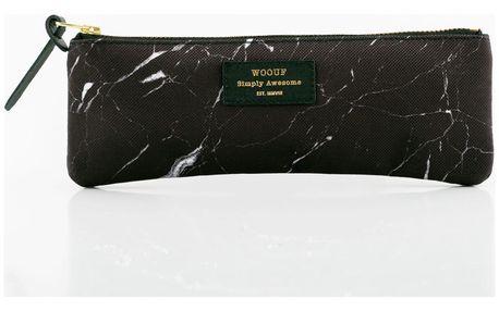 Woouf! Pouzdro na psací potřeby Black Marble, černá barva, textil