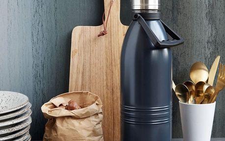 house doctor Nerezová termoska Dark grey 1,5 l, šedá barva, kov