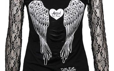 Dámské tričko s andělskými křídly a dlouhými krajkovými rukávy - Černá, velikost 4