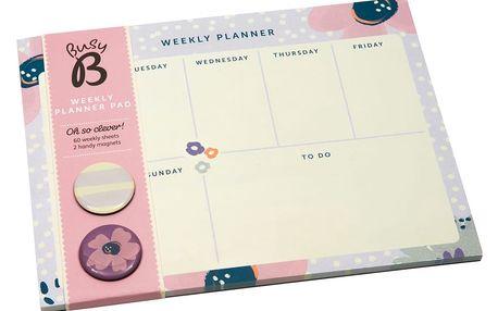 Busy B Týdenní kalendář s magnetky Floral, růžová barva, fialová barva, papír