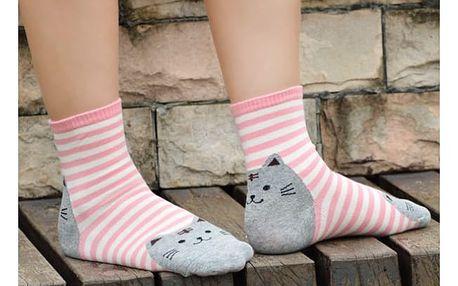 Pruhované ponožky s kočičkou Cat