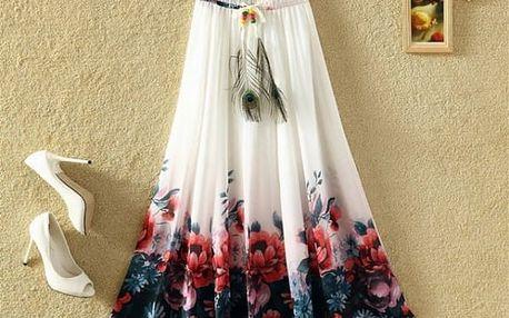Lehká dlouhá letní sukně - bílá s květinovým vzorem - dodání do 2 dnů