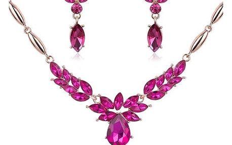 Barevná sada náušnic a náhrdelníku - růžová
