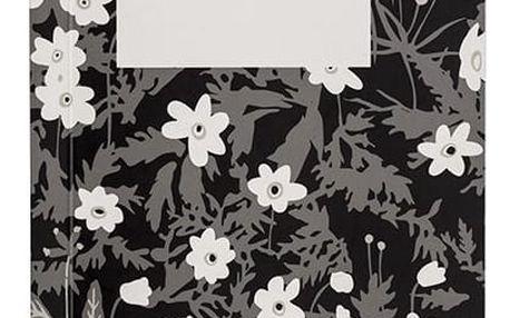 DESIGN LETTERS Poznámkový blok Windflower Small, černá barva, bílá barva, papír