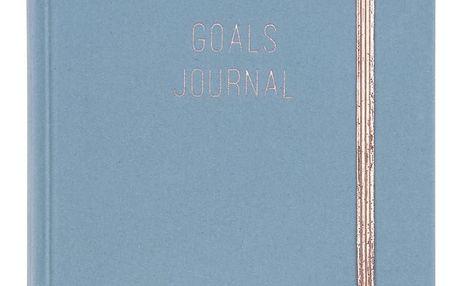 TRI-COASTAL DESIGN Linkovaný notes v sametových deskách Northern Lights Soft Blue A5, modrá barva, měděná barva, papír