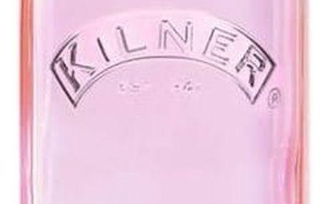 KILNER Hranatá lahev s klipem Pink 1 l, růžová barva, sklo