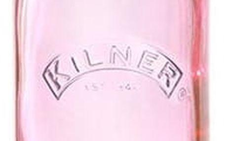 KILNER Skleněná lahvička s klipem Pink 250 ml, růžová barva, sklo