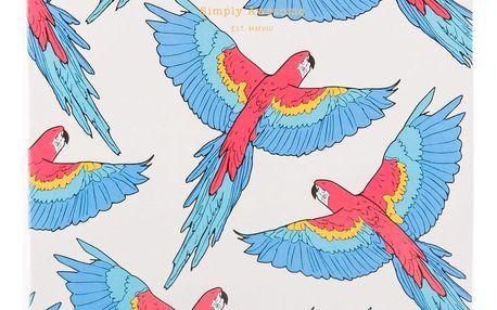 Woouf! Notes Papagayo A5, červená barva, modrá barva, bílá barva, papír